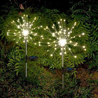 2 x Luces Solares Exterior Decorativas Fuegos Artificiales LED Luz Blanca Cálida de Cadena Solar con Centelleo y Encendido 2 Modos de Iluminación Impermeable para Jardín, Flores, Fiesta: Amazon.es: Iluminación