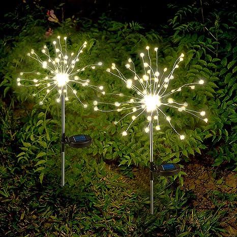 Lot de 2 Lampe Solaire Exterieur Jardin Décoration Feux d\'artifice  Guirlande Lumière Solaire LED Blanc Chaud Étanche pour Jardin, Parterre de  Fleurs, ...
