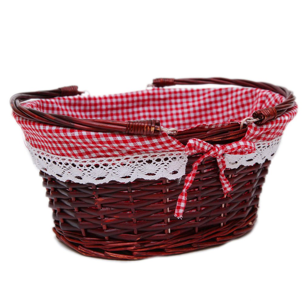 Oypeip(TM) Medium Wicker Basket Oval Woven Willow Basket with Double Drop Down Handles and Removable Linen Lining Gift Picnic Basket (Auburn)