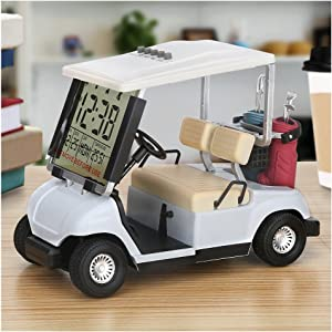 10L0L LCD Display Mini Golf Cart Clock for Golf Fans Great Gift for Golfers Race Souvenir Novelty Golf Gifts
