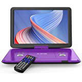 """17.5"""" Portable DVD Player with 15.6"""" Large HD Screen, 6 Hours Rechargeable Battery, Support USB/SD Card/Sync TV and Multiple"""