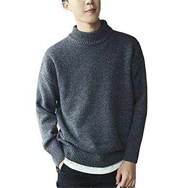 B dressy Solid Sweater Men Half-Turtleneck Collar Long Sleeve ...