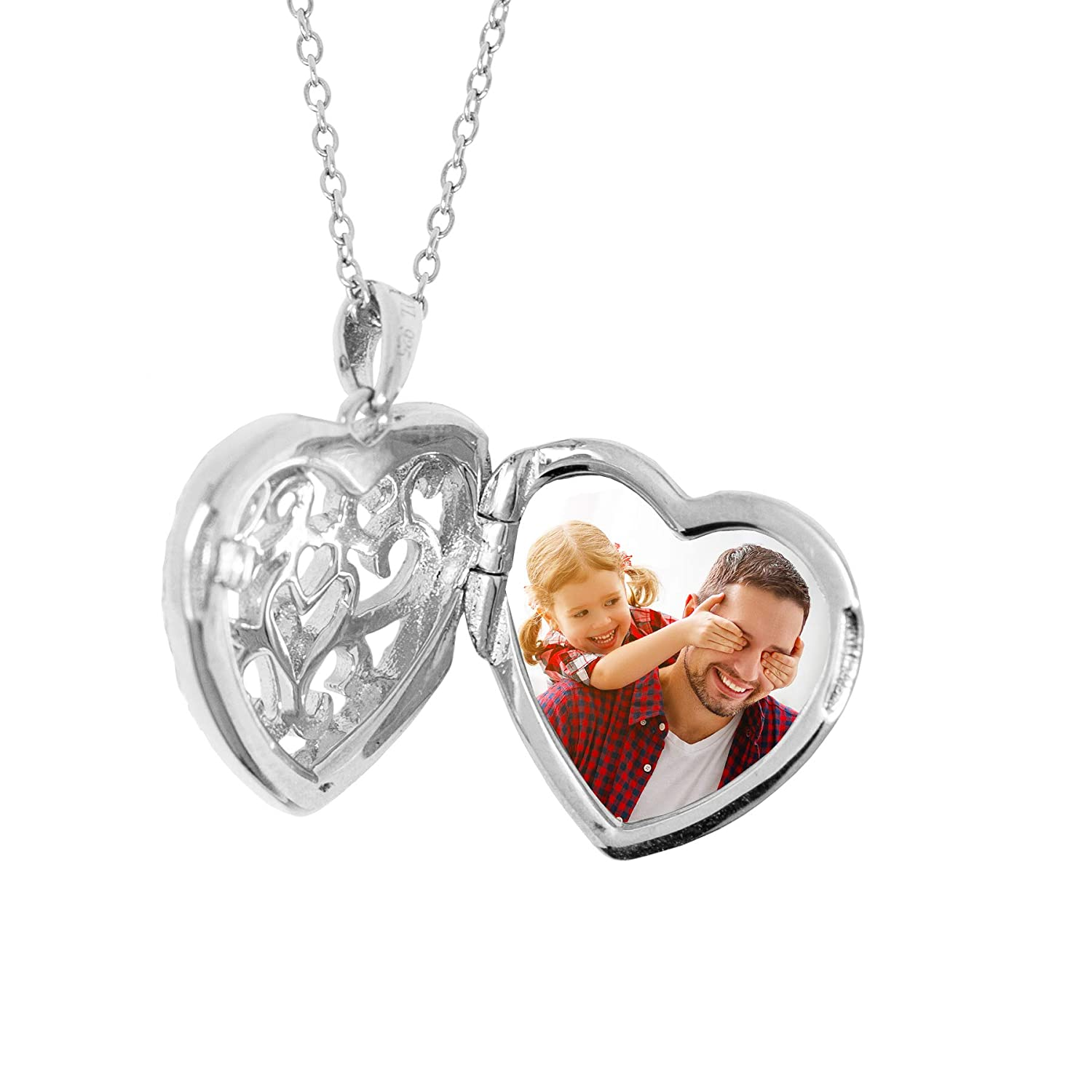 With You Lockets-Fine Sterling Silver-Custom Photo Heart Locket  Necklace-That Holds Pictures for Women-The Mary