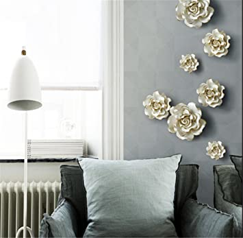 3D Wall Murals Stick Wall Decals Removable Wall Decals Stickers Art Ceramic  Flowers Bird ,white