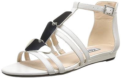 9625d754c Clarks Women s Studio Star Open Toe Sandals White Size  3.5  Amazon ...