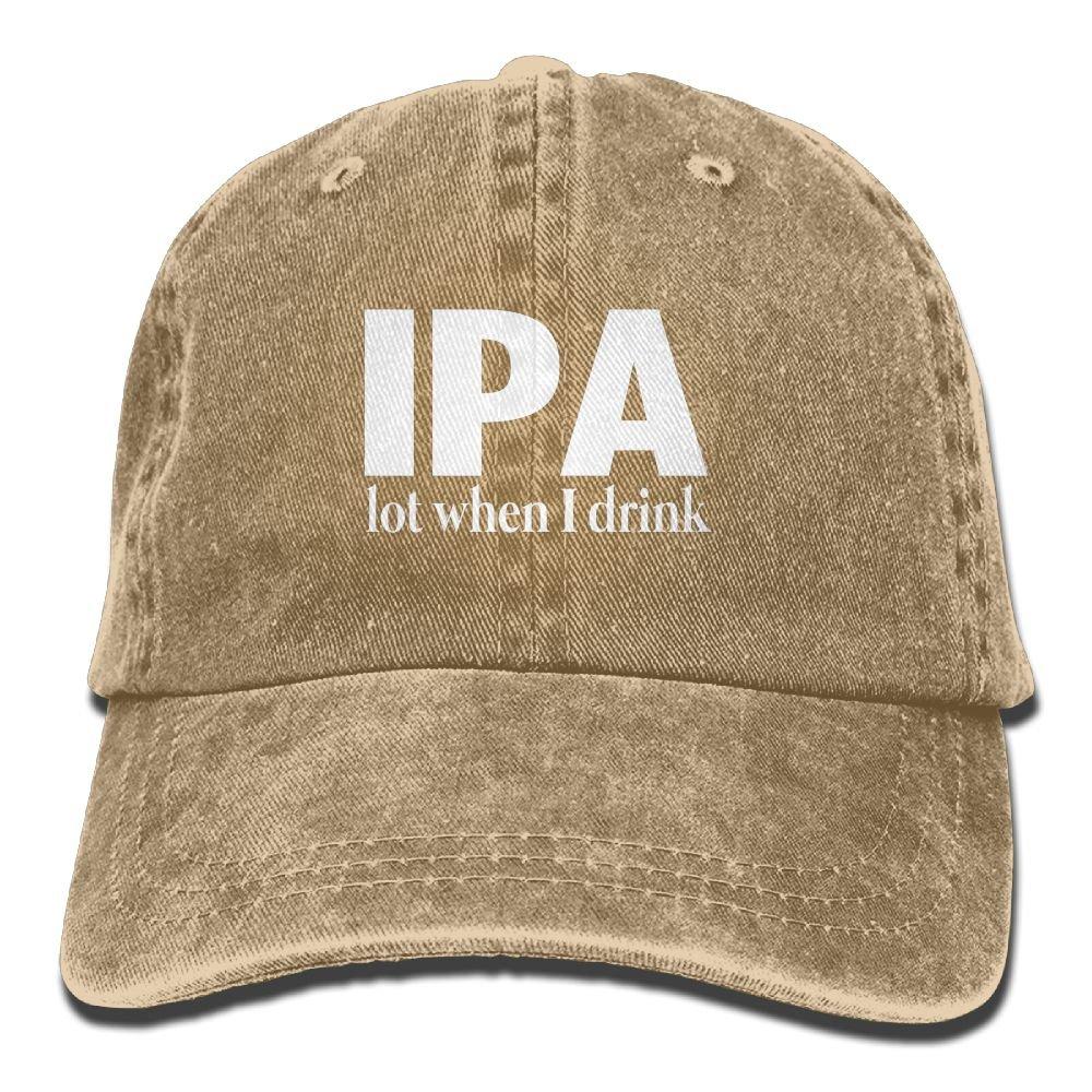 IPA Lot When I Drink Plain Adjustable Cowboy Cap Denim Hat for Women and Men