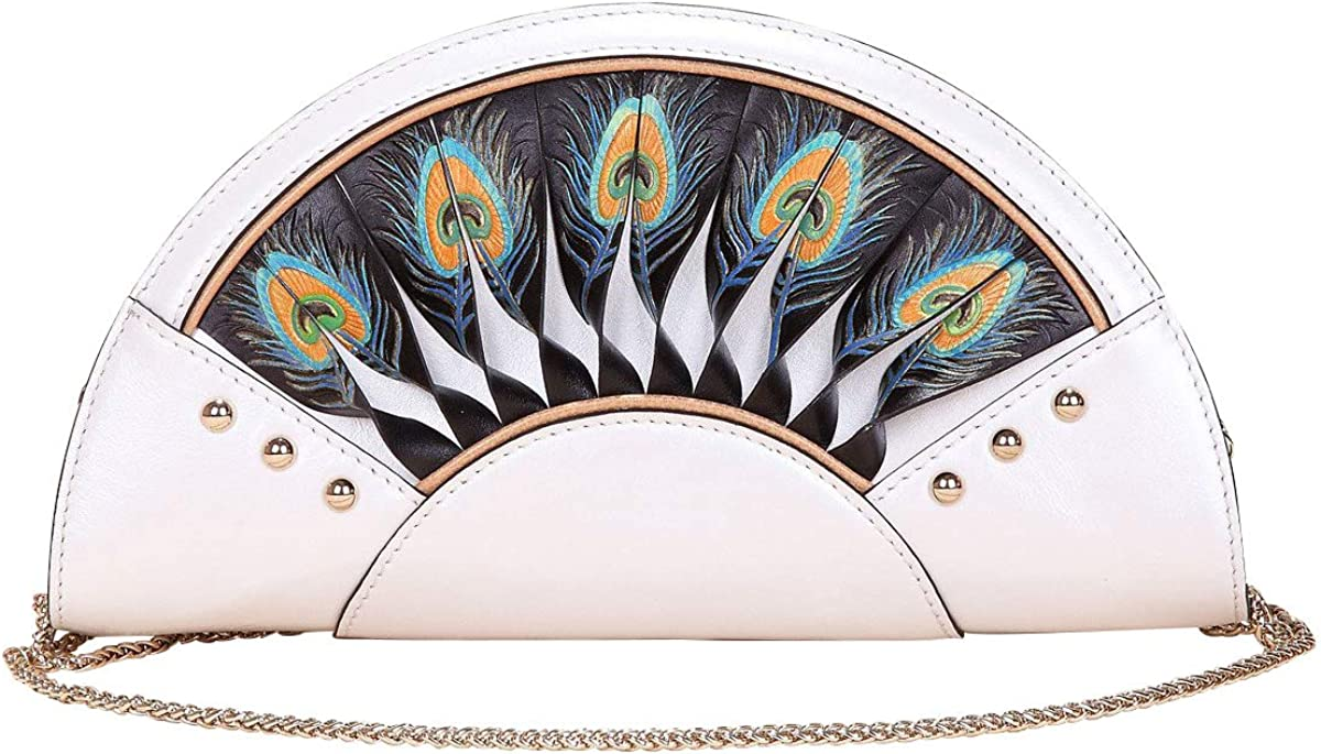 Bellorita Hand Tooled and Hand Painted Peacock Genuine Leather Crossbody Evening Clutch