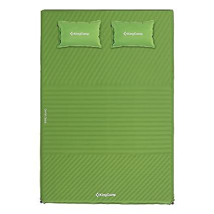 KingCamp Confort Colchoneta Camping con Almohada Auto-inflable a Prueba de Humedad 100% Poliéster