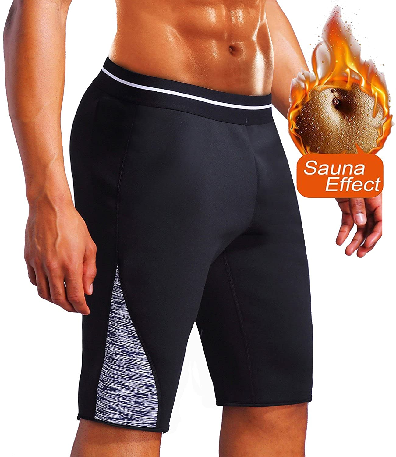 Men's Sauna Suit Hot Sweat Body Weight Gym Shorts Neoprene Athletic Yoga Shorts Workout Slim Pants for Weight Loss SFNMBMR9002
