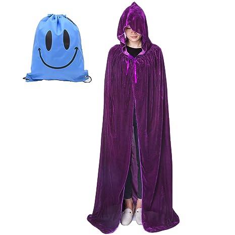 Largo Capa con Capucha, Unisex Adulto Niños Disfraz de Halloween Fiesta Disfraces Vampiro Traje (XL, Morado Terciopelo)