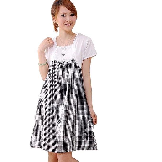 Gaorui Mujer premamá Vestido de Encaje Vestido para Embarazada de Manga Corta de Moda Ropa premamá