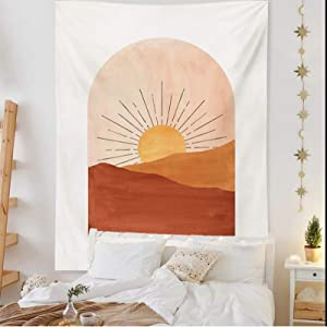 Finduat Bohemian Decor Wall Tapestry   For Bedroom, Dorm & Living Rooms   Boho Tapestry Art with Sun Elements (59.1