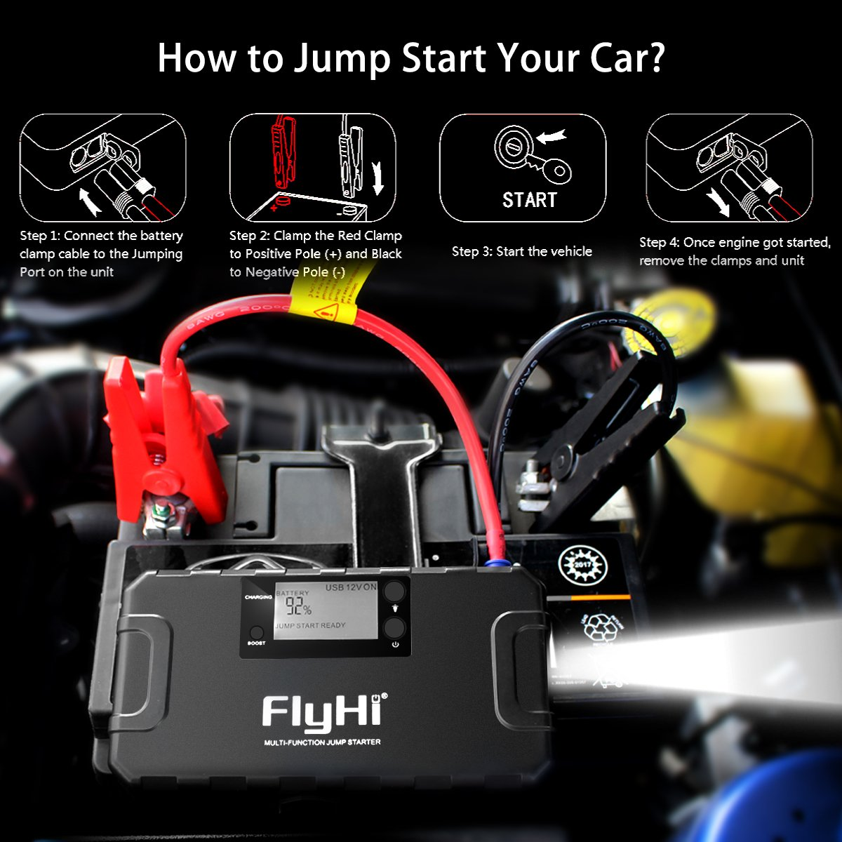FlyHi 800A 18000mAh Portable Car Jump Starter(Up to 6.5L Gas, 5.2L Diesel Engine) 12V Emergency Battery Booster Pack Built-in Smart Protection, Phone Power Bank(Quick Charge) LED Flashlight by FlyHi (Image #4)
