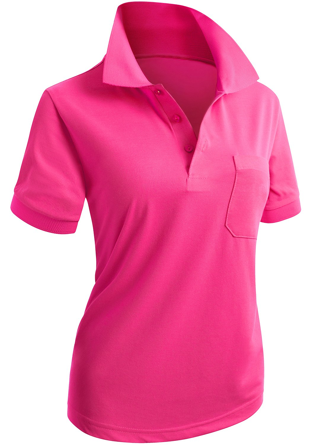 CLOVERY Women's Solid Short Sleeve Basic Polo Shirts Pink US XXL/Tag XXXL by CLOVERY