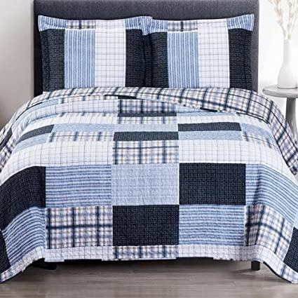 Quilt Coverlet Shams Set Twin/Twin XL Size Soft Bed Spread Plaid Stripe  Print Patchwork