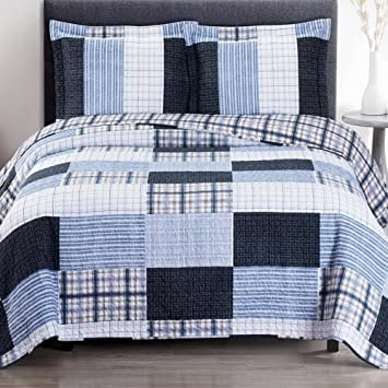Quilt Coverlet Shams Set 3 Piece Full Queen Size Soft Bed Spread Oversized  Plaid Stripe Print