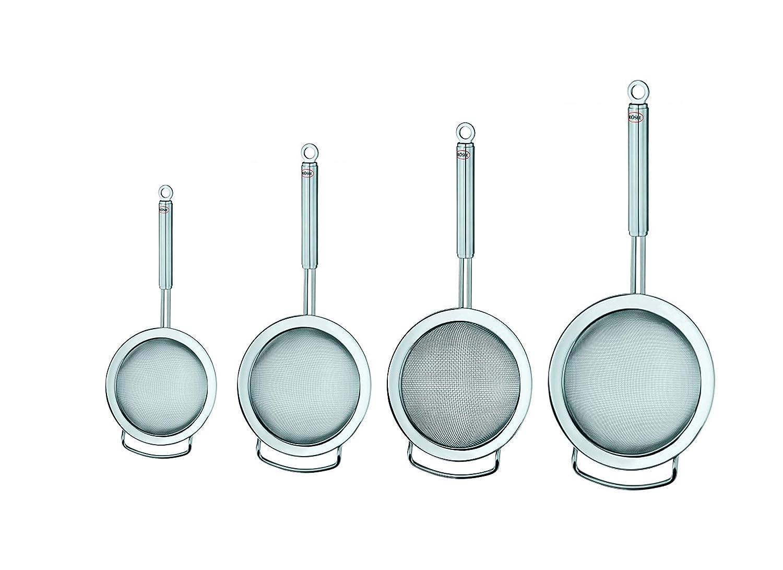 Rösle Stainless Steel Kitchen Strainer Set: Round Strainer Coarse Mesh 16.4-Inch, Round Strainer Fine Mesh 19.6-Inch, Round Strainer Fine Mesh 14.5-Inch, Round Strainer Fine Mesh 11.42-Inch