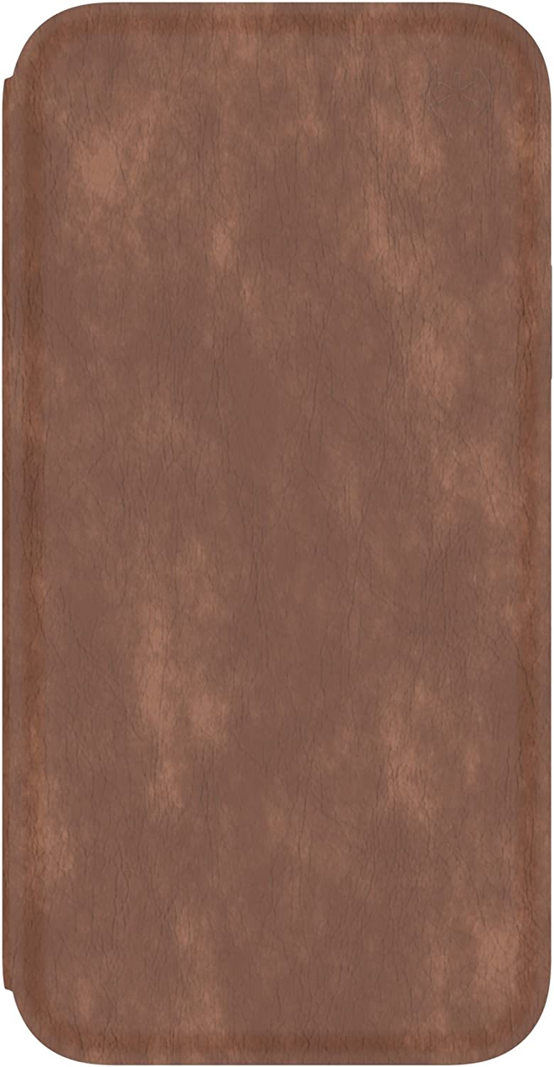 Speck Products Presidio Folio Leather iPhone Xs/iPhone X Case, Saddle Brown/Light Graphite Grey (110972-7394)