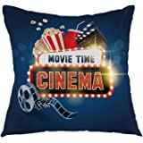 "oFloral Movie Time Throw Pillow Cover Square Cushion Case Home Decorative for Sofa Couch Car Bedroom Living Room Decor 18"" x 18"" inch Blue Red White"