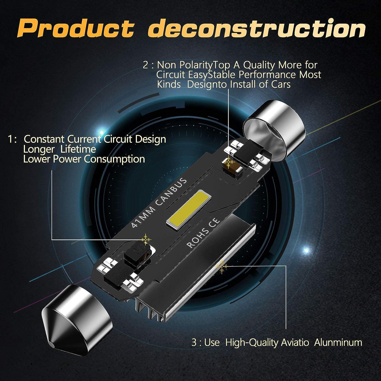 luces de matr/ícula para interior de coche CCAUTOVIE Bombilla LED de 41 mm sin errores mapa puerta de cortes/ía 41mm 4pcs c/úpula C5W