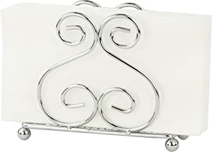 Home Basics Scroll Collection Steel Napkin Holder, Freestanding Tissue Dispenser Organizer for Kitchen Countertop, Durable, Sturdy, Home Décor, Chrome