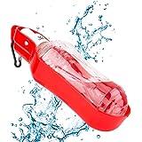Coquimbo Pet bottiglia acqua dispenser portatile cane bottiglia di alimentazione potabile tazza con gancio in metallo 500 ml per viaggi sport viaggio(rosso)