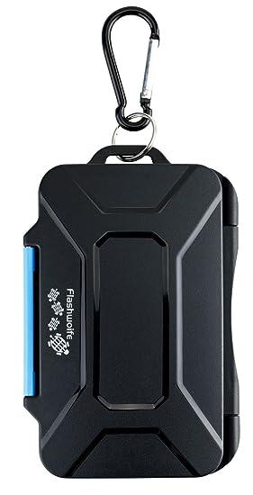 Flashwoife Turtle-SD8MSD16II Caja de protección de tarjeta de memoria impermeable, soporte patentado, estuche para 8 tarjetas SDHC y 16 tarjetas ...