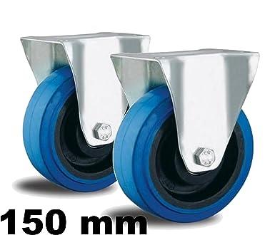 Set 2 Bockrollen 2 Lenkrollen mit Bremse Blue Wheel Transport Industrie Rolle