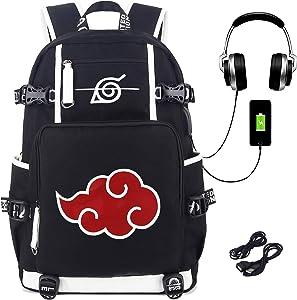 Roffatide Anime Naruto Backpack School Bag Print Laptop Backpack with USB Charging Port & Headphone Port
