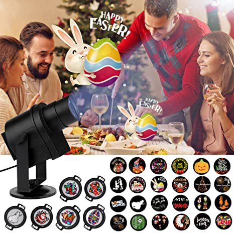 DIY Projector Light, ACRATO LED Projection Rotating Night Lamp, 30pcs Gobos  Suitable For Easter