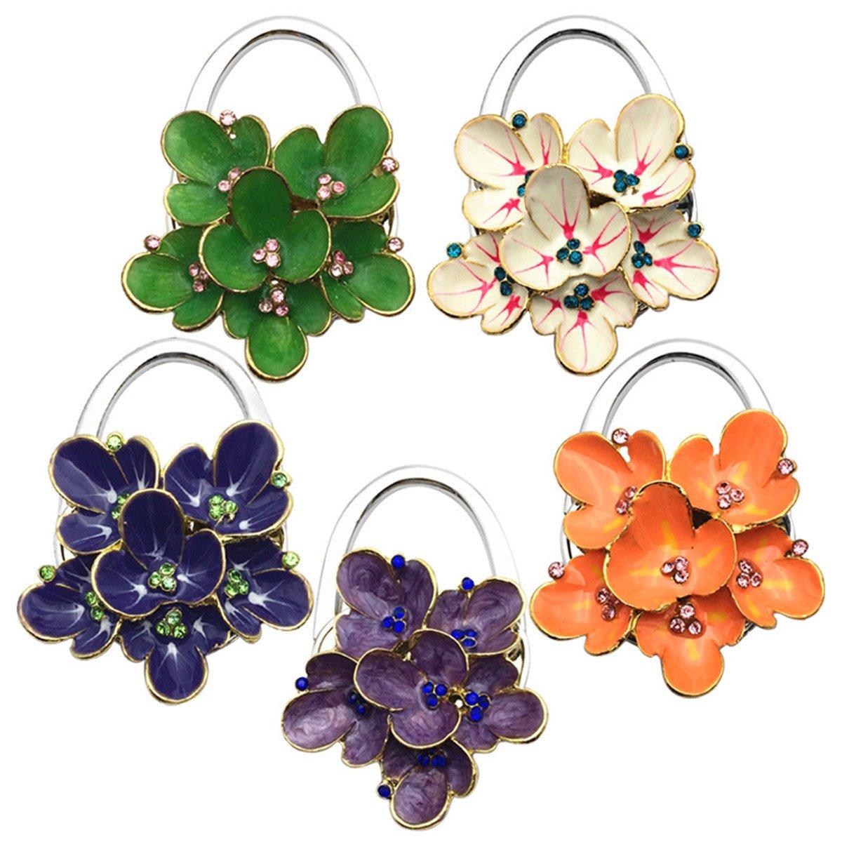 Reizteko Purse Hook,Begonia Foldable Handbag Purse Hanger Hook Holder for Tables (Pack of 5) by Reizteko