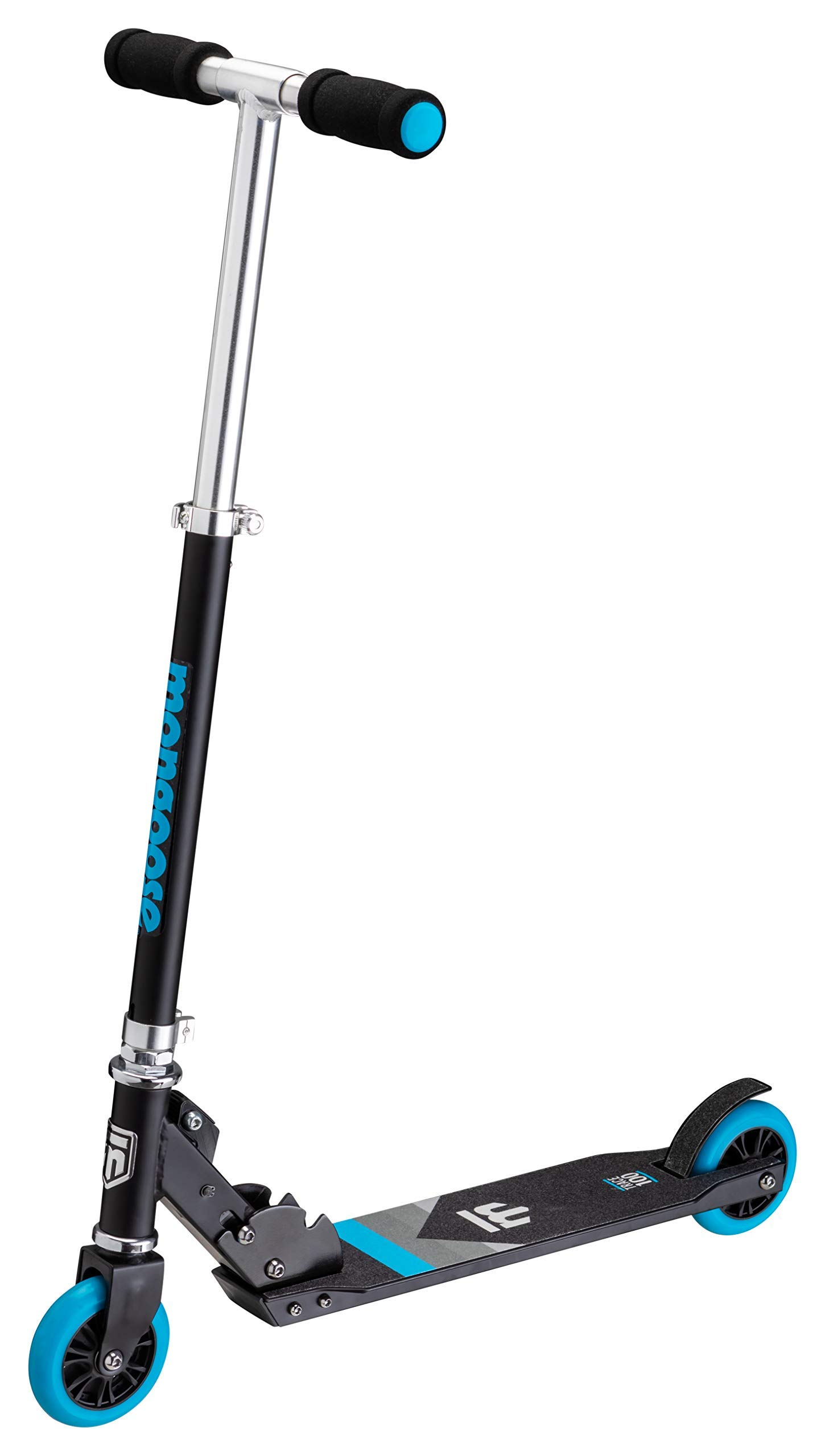 Mongoose Trace 100 Foldable Kick Scooter, Featuring Quick-Release Adjustable Height Handlebars with 100mm Wheels, Black/Blue (Renewed) by Mongoose