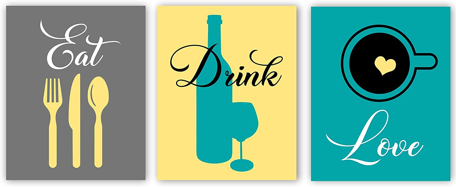 """Eat Drink Love Kitchen Décor, Modern Kitchen Print, Food and Drink Prints, Dining Room Art Kitchen Quotes, Housewarming Gift, Kitchen Wall Art Print Set of 3 (Eat Drink Love, 8"""" x 10"""")"""
