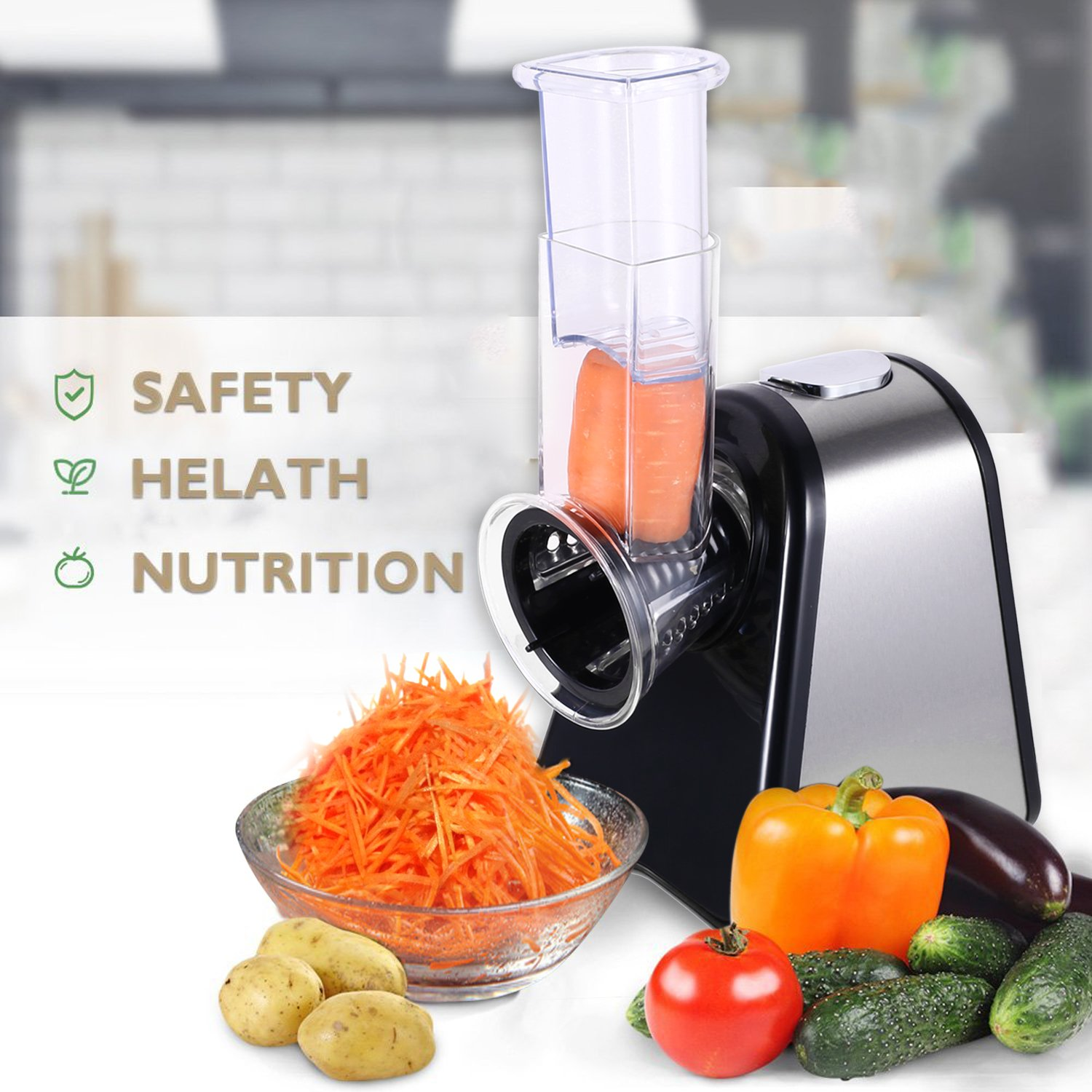 Automatic Electric Slicer Shredder Professional Salad Maker Machine with One-Touch Control and 4 Free Attachments for fruits, vegetables, and cheeses