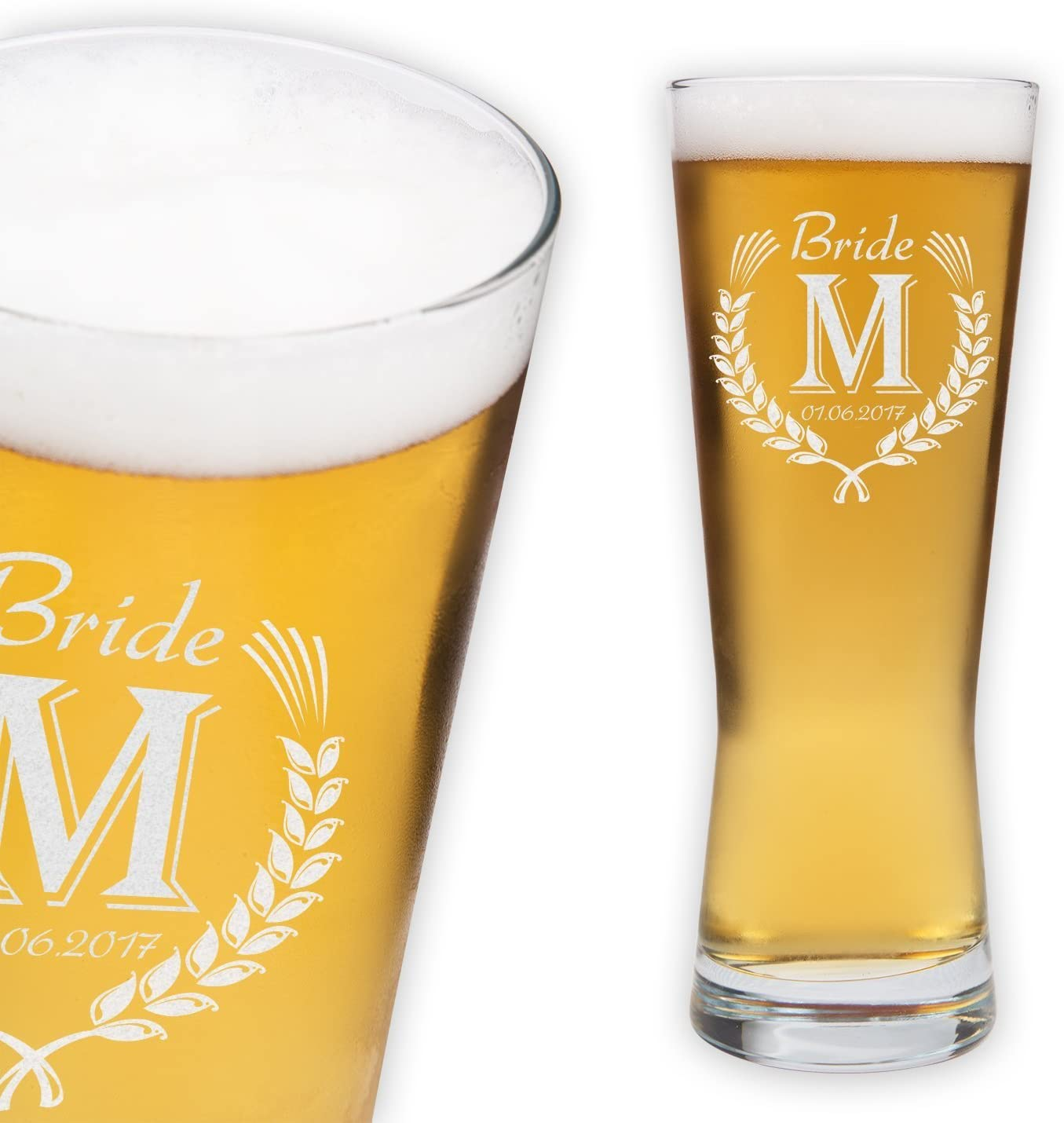 Personalizado–grabado personalizado 16oz vaso de cerveza Pilsner–vaso de cerveza personalizable boda concepto–novia, novio y Bestman diseño