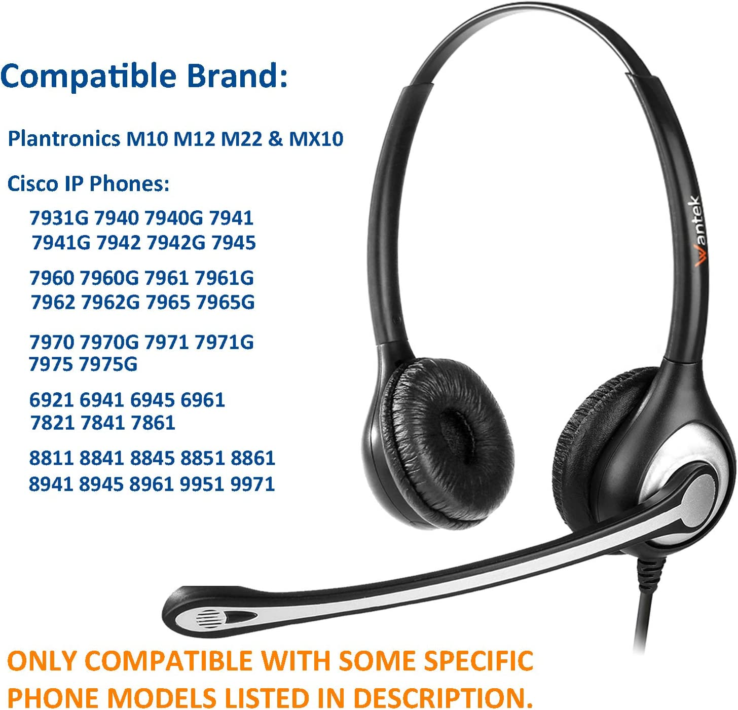 7945G 7962G 7941G 8841 7960 7965 etc 7940 7841 7931G 7942G 7961G Cisco IP Phone Compatible Headset with Noise Cancelling Microphone RJ9 Corded Phone Headset for Cisco CP-7821 7961