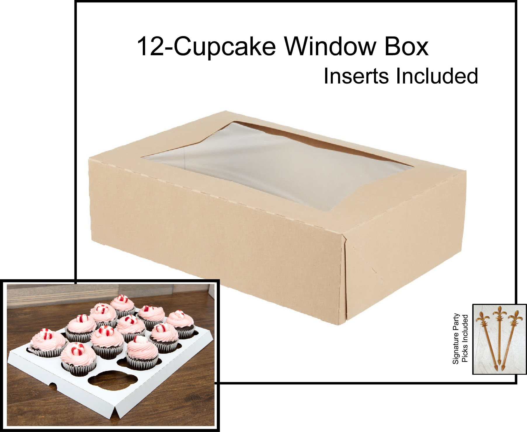 10 count Kraft Window 12-Cupcake Box 14x10x4 w/Signature Party Picks