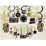QILICZ 2019 Happy New Year deko Set, Silvester Dekoration - Hanging hängen spiralen Dekoration,30 stück Jahre Strudel Dekoration Silvester Swirl Aufhängen Karten schwarz/golden