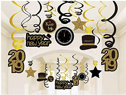 30ct happy new years eve hanging swirl decorations 2019 nye glitter gold black decor