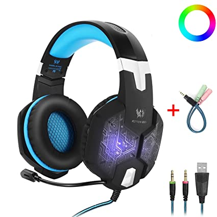 96635788ddc Gaming Headset with Mic for PC,KOTION EACH G1000 One Key Mute Sound Clarity  Over