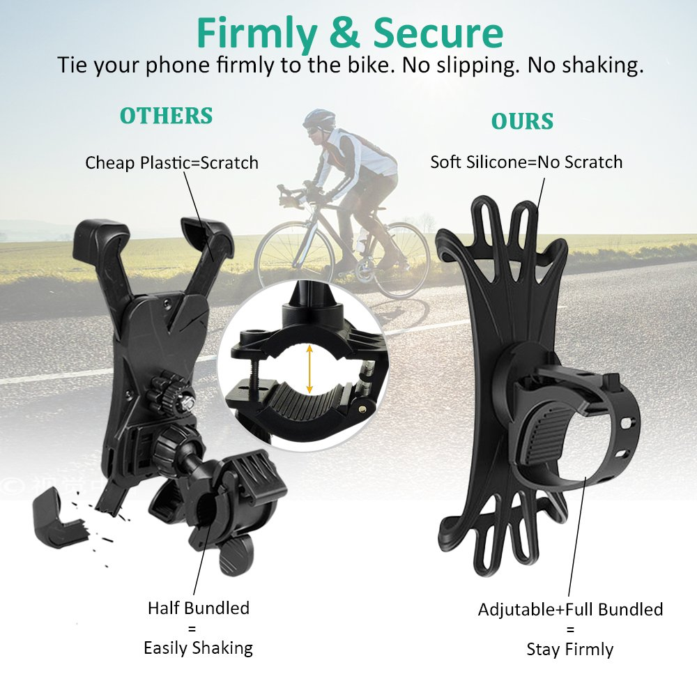8//8 Plus Bike Phone Mount 4.0-6.0 phones S8//S8 Plus 6//6s Plus Galaxy S9//S9 Plus Bovon 360/°Rotation Silicone Bicycle Phone Holder 7 Universal Motorcycle Handlebar Mount Fits for iPhone X