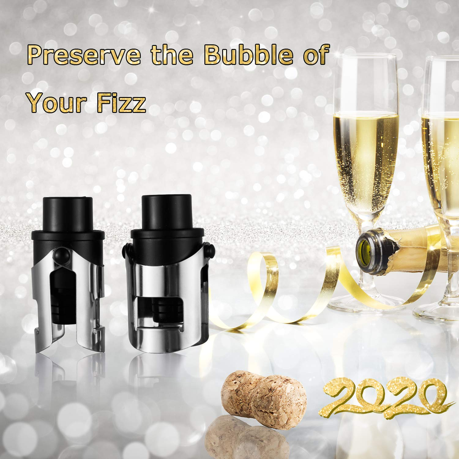 Cava Professional Bottle Sealer for Champagne Stainless Steel Prosecco /& Sparkling Wine ABS Keep Your Fizz/'s Bubbles Set of 2 Champagne Stopper with Vacuum Champagne Sealer Stopper with Pump