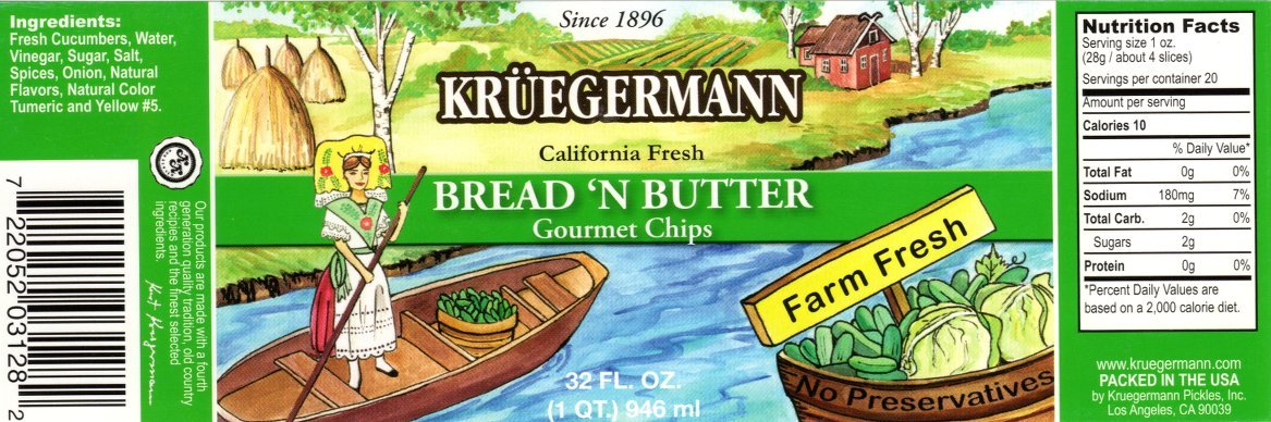 SHIPS FREE Get 2 (32 fl.oz) Jars Bread n' Butter Pickle Chips Kruegermann (64 fl.oz)