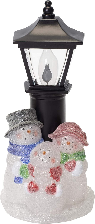 "7"" Holiday Street Lamp Snowman Family Night Light"