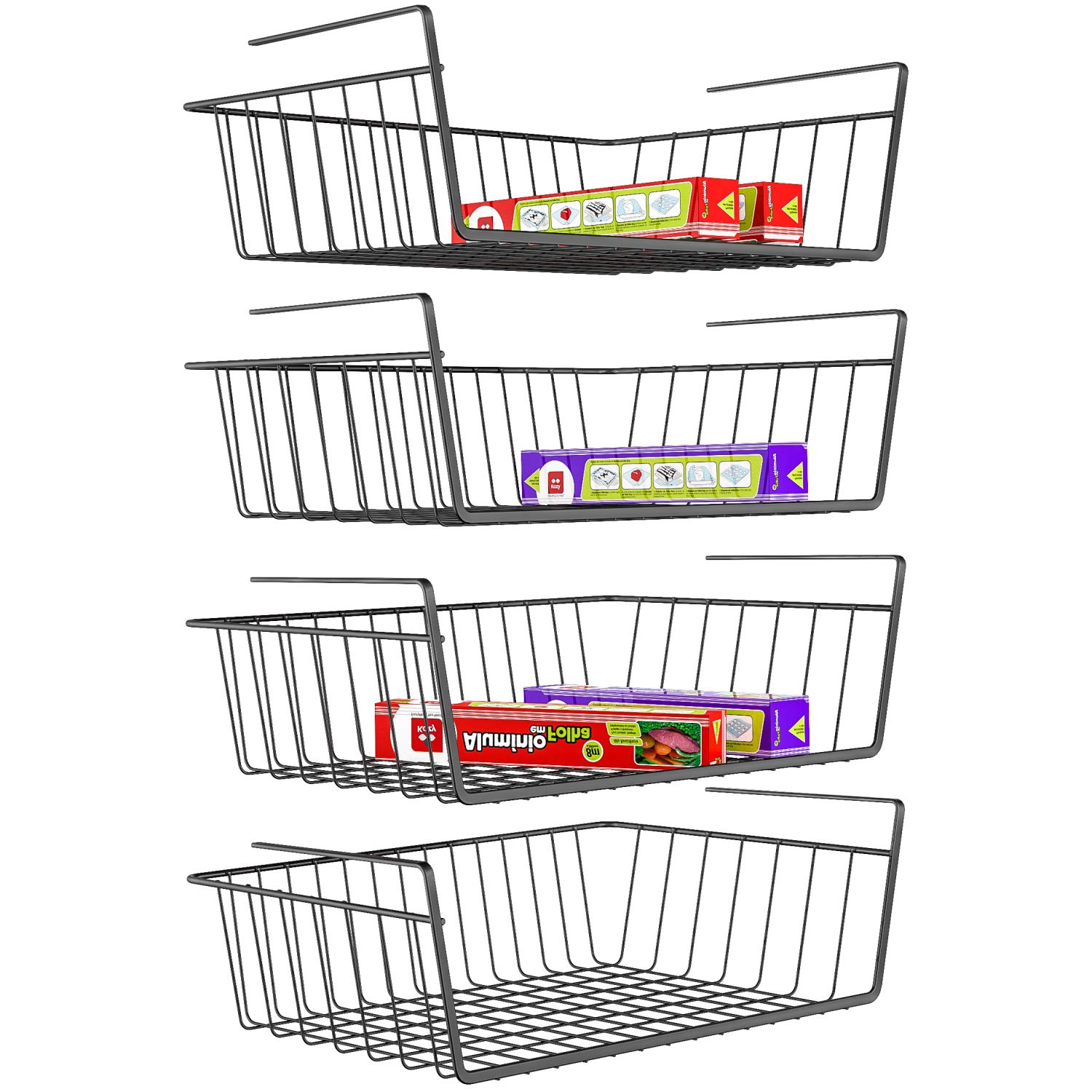 iSPECLE Under Shelf Basket, 4 Pack Wire Rack, Slides Under Shelves for Storage, Easy to Install, Black by iSPECLE