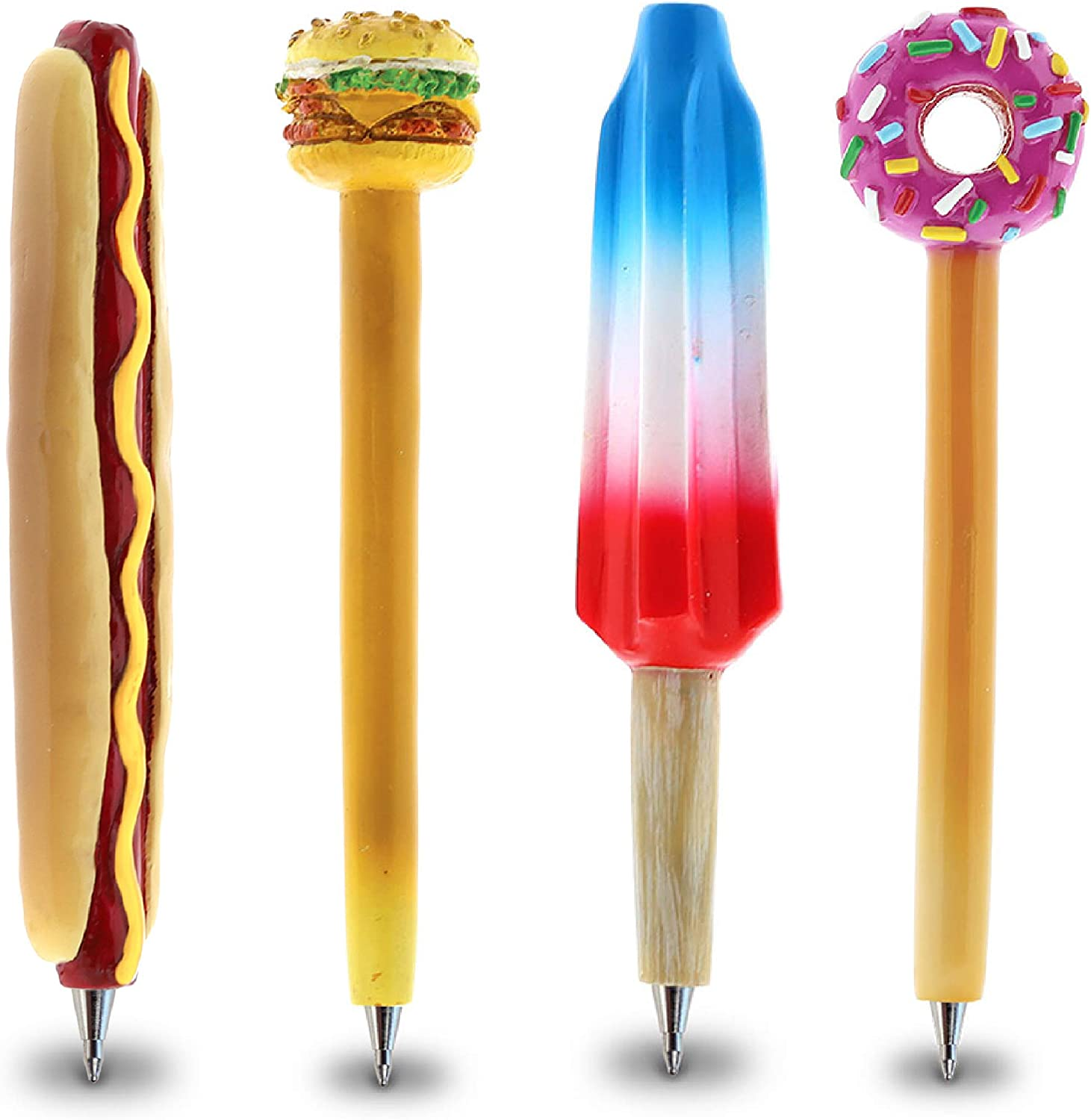 Planet Pens Bundle of Hot Dog, Cheeseburger, Ice Treat, Sparkle Pink Donut Novelty Pens - Unique Office Supplies Ballpoint Pens Colorful Food & Treats Writing Pens For School and Office Decor - 4 Pack