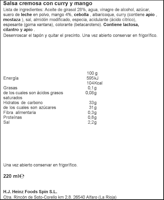 heinz salsa curry y mango 220 ml amazon es amazon pantry