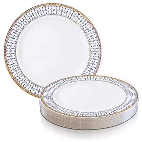 225 & Elegant Disposable Plastic Dinner Plates 120 Pcs - Heavy Duty Round White with Blue u0026 Gold Reusable Dinner Plates - Bulk Party Supplies For Wedding ...