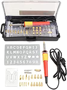 Amena Soldering Wood Burning Pen Tips Kit 30W Wood Burning Pen Soldering Tool Set Kit Brass Electric Wood Soldering Tool Kit Pyrography Iron Pen Wood-Working Craft Tool Set for Cutting and Carving