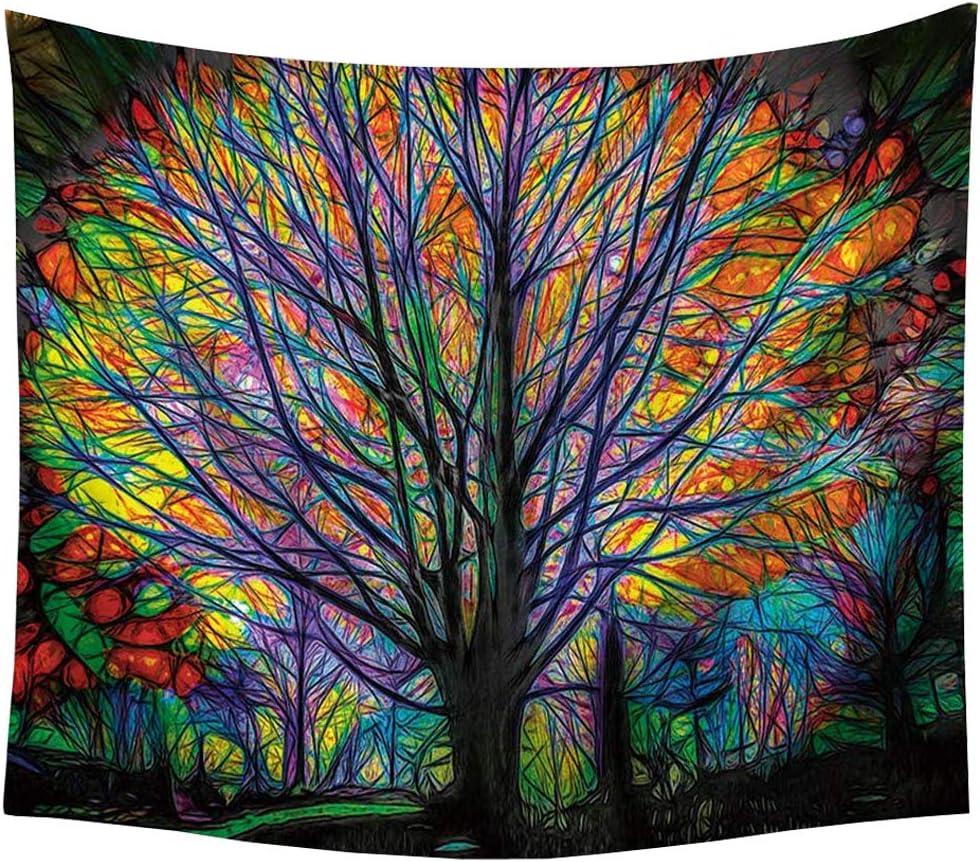 INTVN - Tapiz Hippie de Bosque psicodélico para Colgar en la Pared con diseño de pájaros y árbol Colorido, decoración Mandala Bohemia (150 x 130 cm)